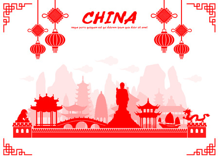 hong kong: Beautiful China Travel Landmarks. Vector and Illustration.
