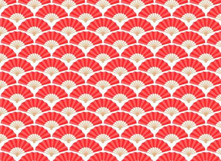 日本と中国のファンのシームレスなパターン。ベクトルとイラスト。