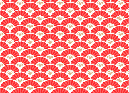 china chinese: Japanese and Chinese Fans Seamless Pattern. Vector and Illustration.
