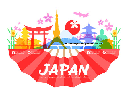 summer in japan: Beautiful Japan Travel Landmarks. Vector and Illustration.