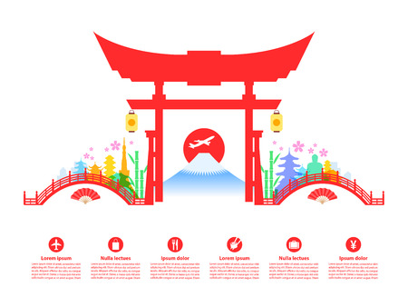 Beautiful Japan Travel Landmarks. Vector and Illustration.