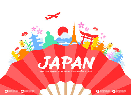 japanese fan: Beautiful Japan Travel Landmarks. Vector and Illustration.