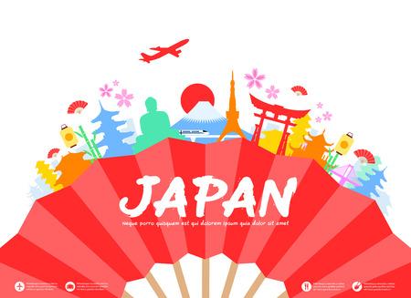 japones bambu: Hermosas Japón Monumentos históricos de Viajes. Vector e ilustración.