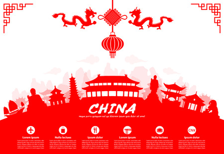 chinese pagoda: Beautiful China Travel Landmarks. Vector and Illustration.