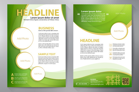 green banner: Brochure design a4 template. Vector illustration