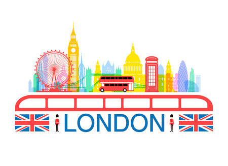 london bus: London, England Travel Landmarks. Vector and Illustration