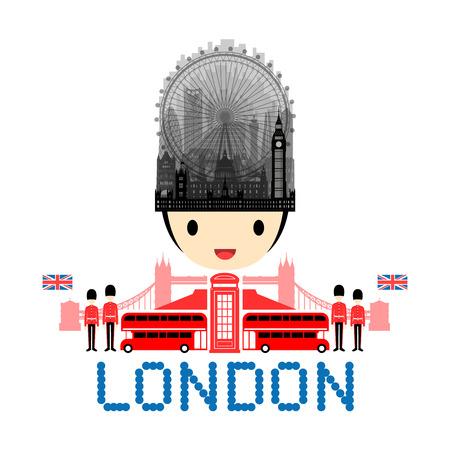 London, England Travel Landmarks. Vector and Illustration