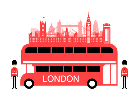 london bus: England Travel Bus. Vector and Illustration