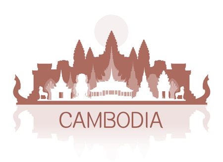wat: Beautiful Cambodia Travel Landmarks. Vector and Illustration.
