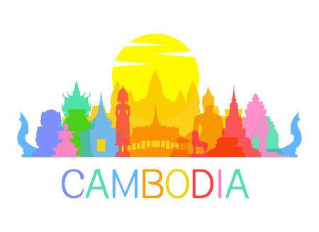 Beautiful Cambodia Travel Landmarks. Vector and Illustration. Reklamní fotografie - 40866761