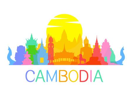 Beautiful Cambodia Travel Landmarks. Vector and Illustration.