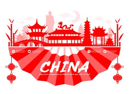 Belles Chine Monuments voyage. Vector et Illustration.