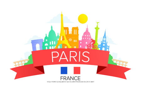 notre: Paris France Travel Landmarks. Vector and Illustration
