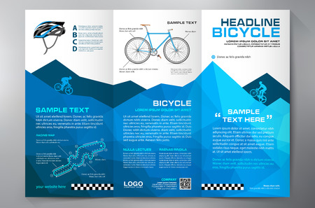 bicycles: Brochure leaflet design tri-fold template. Vector illustration