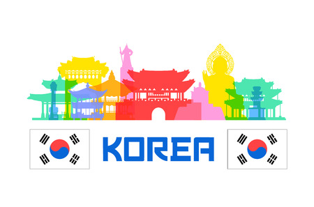 Korea Travel Landmarks. Ilustrace