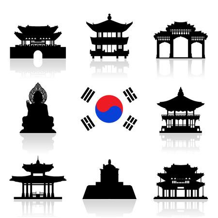韓国旅行のランドマーク。  イラスト・ベクター素材
