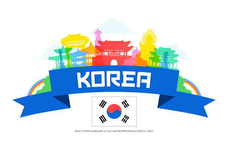 Korea Travel Landmarks. 矢量图像