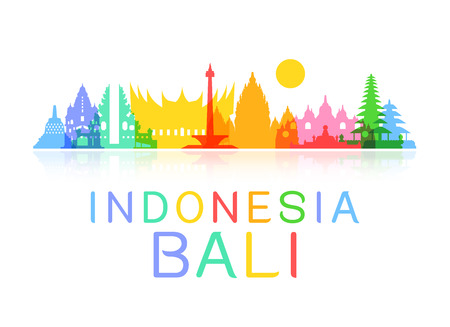 bali: Indonesia Travel Landmarks. Vector and Illustration