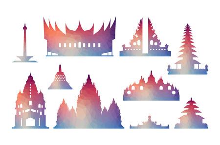 인도네시아 여행 아이콘. 벡터 및 그림