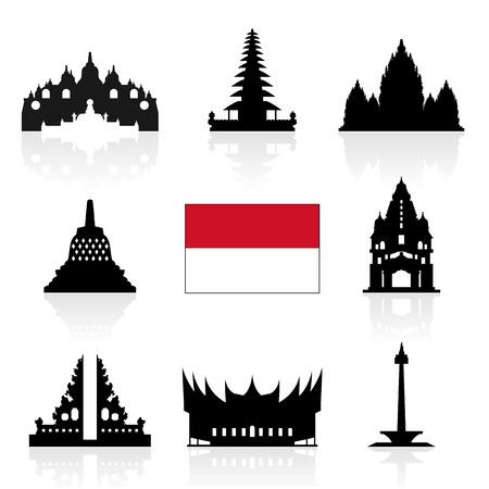 Indonesia Iconos de Viajes. Vector e ilustración