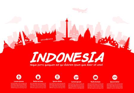 Indonesië Travel Landmarks. Vector en Illustratie