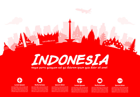 asian culture: Indonesia Travel Landmarks. Vector and Illustration