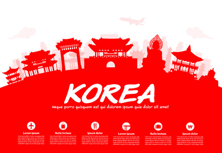 asian culture: Korea Travel Landmarks. Vector and Illustration
