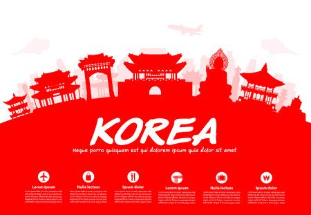 Korea Travel Landmarks. Vector and Illustration