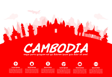 khmer: Beautiful Cambodia Travel Landmarks. Vector and Illustration.
