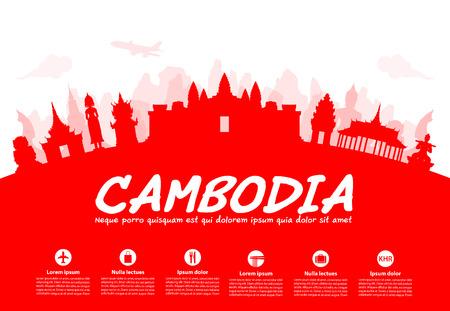 Bella Cambogia Travel Landmarks. Vettore e illustrazione.