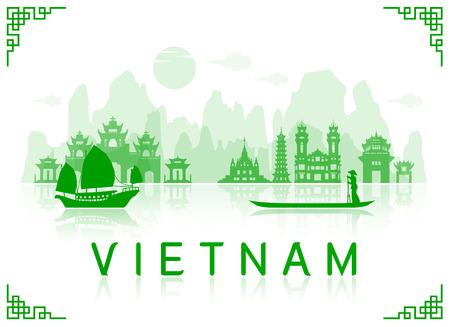 베트남 여행 명소. 벡터 및 그림