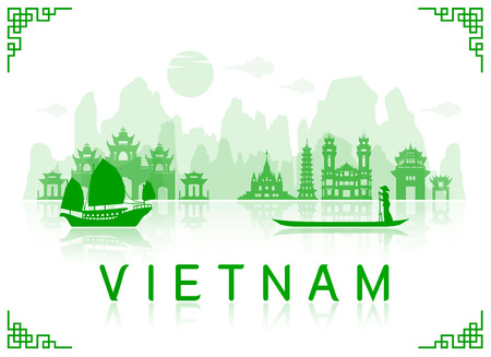 landmark: Vietnam Travel Landmarks. Vector and Illustration Illustration