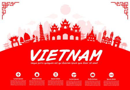 Vietnam Reisen Sehenswürdigkeiten. Vector und Illustration Standard-Bild - 44785011
