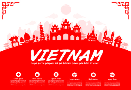 Vietnam Travel Landmarks. Vector and Illustration Çizim