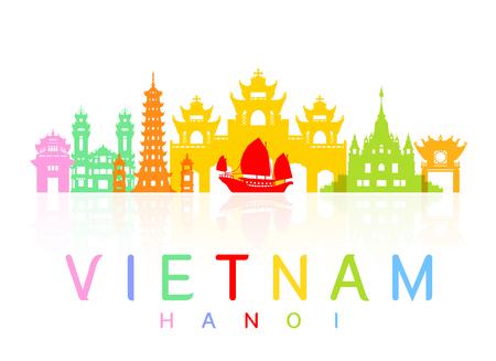 Vietnam Travel Landmarks. Vector en Illustratie