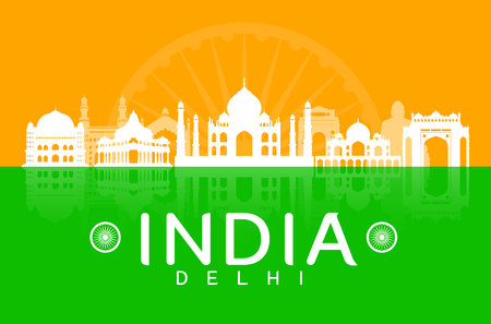 india city: India Travel Landmarks. Vector and Illustration