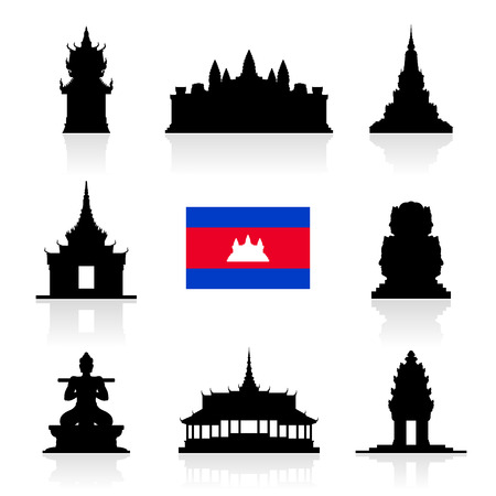 cambodian flag: Beautiful Cambodia Travel Landmarks. Vector and Illustration.