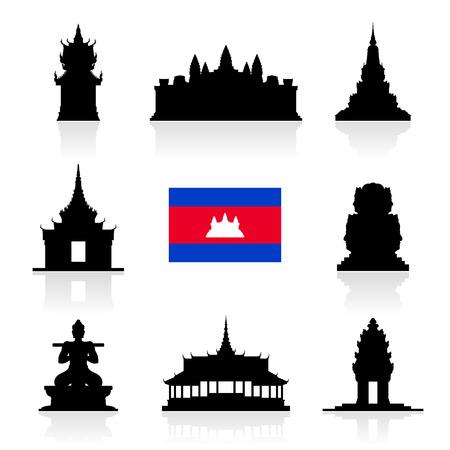 Mooie Cambodja Travel Landmarks. Vector en Illustratie. Stock Illustratie