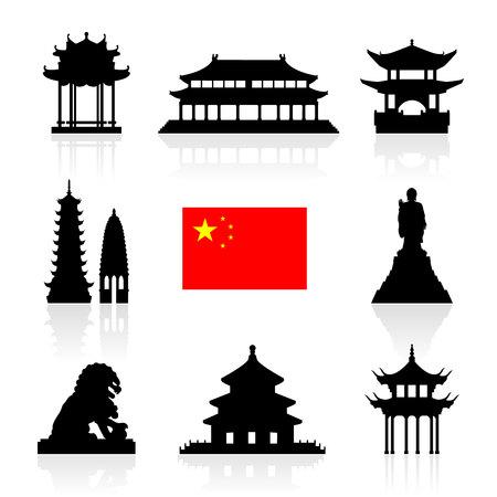 中国のランドマーク アイコンを設定。ベクトルとイラスト。