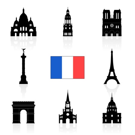 notre: Paris, France Travel Landmarks. Vector and Illustration