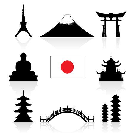 templo: Japón Monumentos históricos Icon Set. Vector y la ilustración.