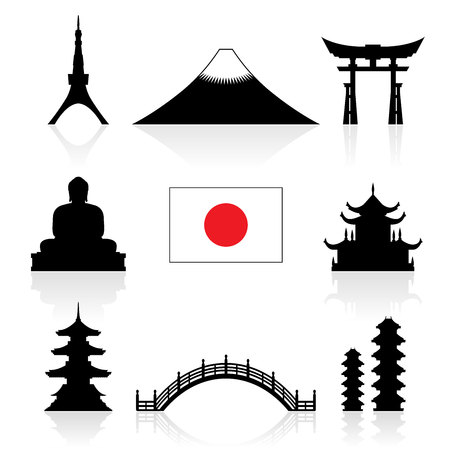 summer in japan: Japan Landmarks Icon Set. Vector and Illustration.
