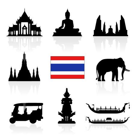 タイのランドマーク アイコンを設定。イラストとベクター