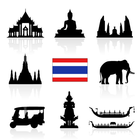 Thailand Monumenten Icon Set. Vector en Illustratie