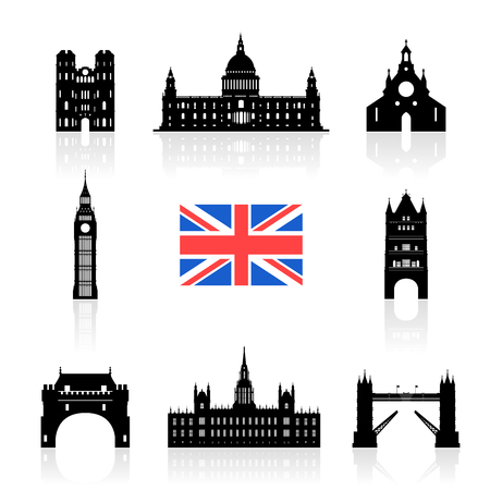 England Landmarks Icon Set. Vector and Illustration Illustration