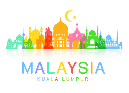 mosque: Malaysia Travel Landmarks. Vector and Illustration