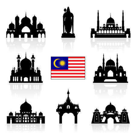 landmark: Malaysia Travel Landmarks. Vector and Illustration