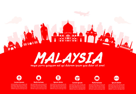 mosque illustration: Malaysia Travel Landmarks. Vector and Illustration