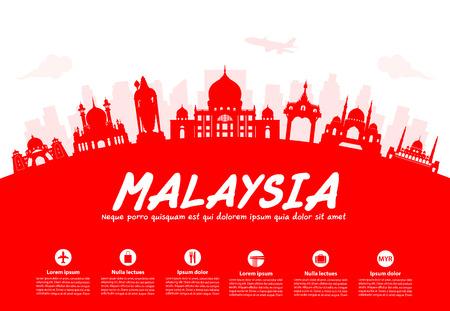 Maleisië Travel Landmarks. Vector en Illustratie