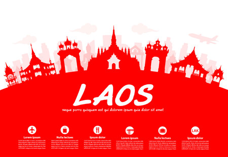 Laos Reisen Sehenswürdigkeiten. Vector und Illustration Standard-Bild - 46647699